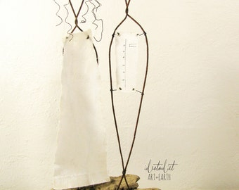 Bohemian Style Wire Sculpture Wedding Gift on Driftwood Mixed Media Art