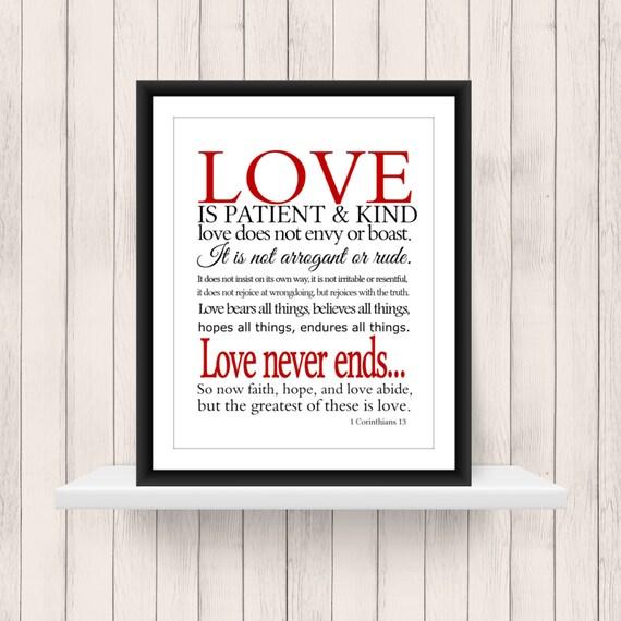 wall art 1 corinthians 13 love scripture 11x14 printable. Black Bedroom Furniture Sets. Home Design Ideas