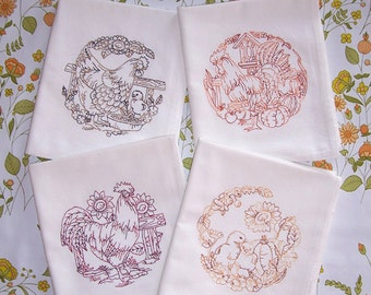 Flour Sack Embroidered Chicken Rooster and Chick Scenes Kitchen Towels