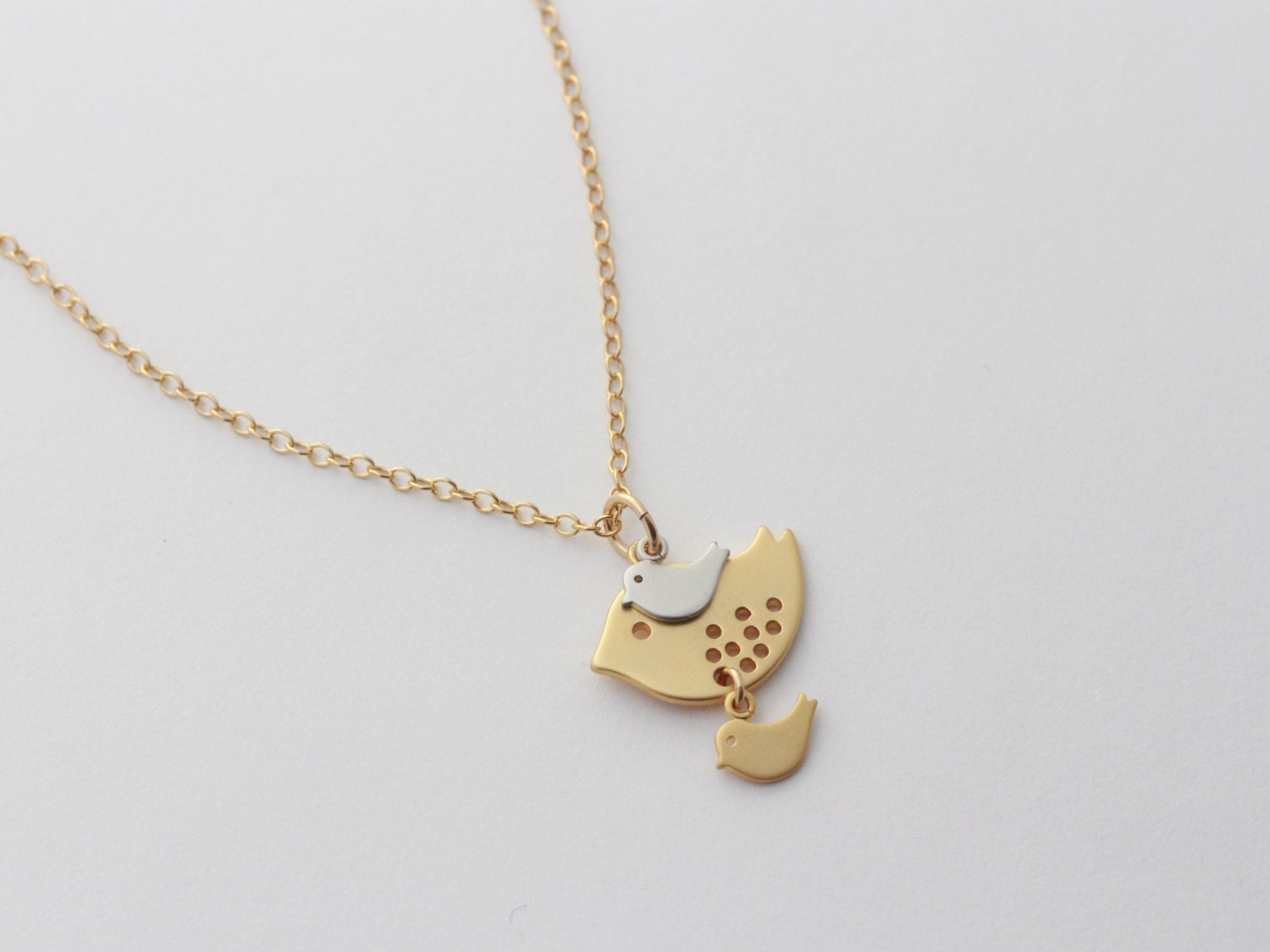 gold bird necklace mother and son mother daughter necklace. Black Bedroom Furniture Sets. Home Design Ideas