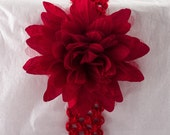 Red Headband with Red Flower- Newborn
