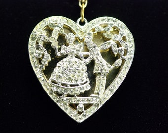 Hattie Carnegie Necklace Rhinestone Pave Heart Pendant Signed Bride Engagement Valentines Day