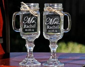 2 Mason Jar MUG Wine Glass, Personalized Etched Glass, Redneck Wine Mugs