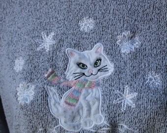 Grey Kitty Cat Snowflake Christmas Winter Sweater Sweatshirt by Bon Worth