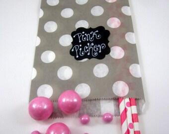 24- 5X7 Gray & White Big Dot Chevron Bags, Treat Bags, Favors, Candy Buffet, Wedding,Polka Dot