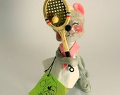 Reserved for CA - Annalee Mobilitee Tennis Mouse. 1974 Mint Collectible Racquet and Ball Pink and White Outfit.