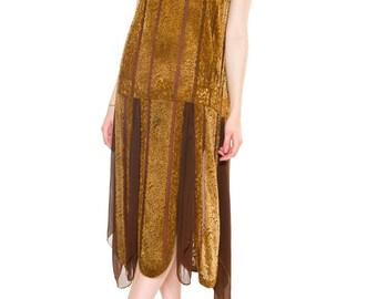 1920s Vintage Silk Velvet and Chiffon Dress Size: S/M/L
