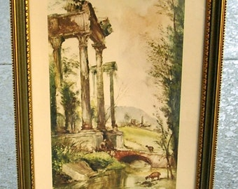 Vintage Pastoral Print Wall Decor, Roman ruins framed, Italian countryside, green home decor, old world decor
