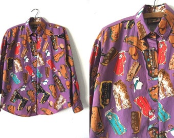 Cowboy Boots Button Down Shirt - Novelty Print Western Shirt - Abstract 90s Long Sleeve Blouse - Womens Large