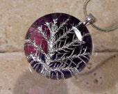 Stair Step Moss (Hylocomium splendens)  Necklace, bryophyte, woodland jewellery, moss jewelry, plant, leaf, purple, silver
