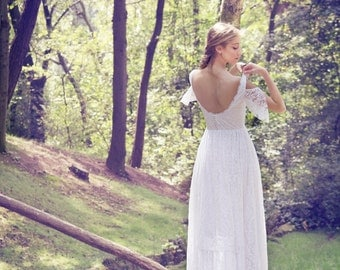 Boho Wedding Dress, Bohemian Bridal Gown, Long Wedding Dress, Gypsy Bridal Gown, Lace Wedding Gown,Ivory Gown, Handmade by SuzannaM Designs