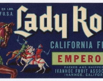 Vintage Original LADY ROWENA Emperor Grape Crate Label, Fruit Crate Label