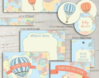 Hot Air Balloon Baby Shower Party Pack - Oh the Places They'll Go!