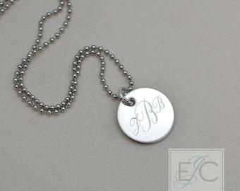 """script monogram engraved necklace, .625"""" pendant"""
