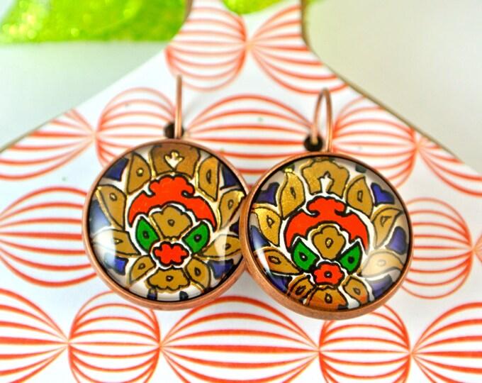 Turkish Art Earrings: Handmade Christmas Day Gift - Turkey Istanbul Grand Bazaar Iznik - Jewelry Flowers Artwork -  Gold Red Green