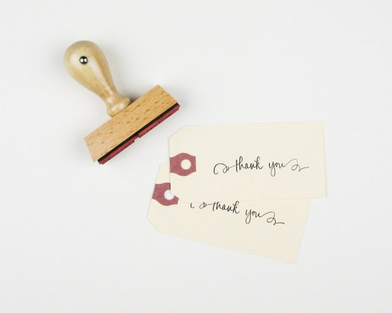 Calligraphy Thank You Stamp - rubber stamp - hand lettered thank you stamp with scrolls - thanks stamp - ready to ship - k0017