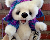 White teddy bear in a jacket,  Jointed Artist Teddy Bears, Handmade OOAK. Mohair Bear