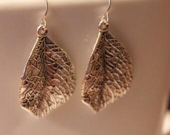 Silver leaf earrings, modern rustic silver nature earrings