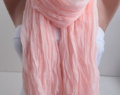 Salmon Crinkle Cotton Scarf  Shawl Scarf Solid Color Crinckle Scarf Fashion Women Accessories