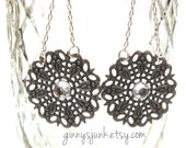 Filigree Dangles with Diamond Gems - Lightweight Earrings - Gifts for Her