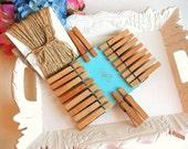 DIY Wood Clothespins Hemp cord twine set 20 pins 30 ft hemp clips banner card holder rustic crafts photo display party bunting wedding decor