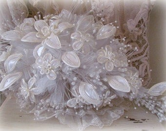 Vintage White Tulle And Flower Bridal Bouquet