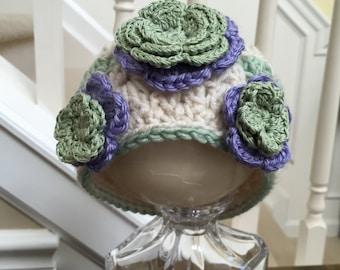 Crocheted Baby Hat - Flower Crochet Hat . 0 to 3 months - Photo prop - baby girl crochet