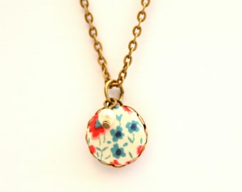 Liberty of London Dainty Pendant Necklace in Phoebe Red and Blue