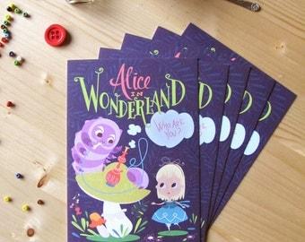 5 Alice in wonderland illustrated cards (no envelopes)