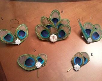 Peacock sword hair clip