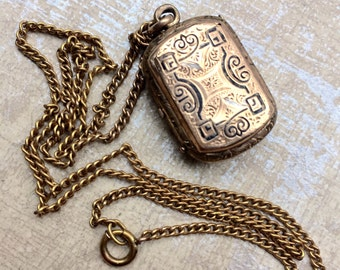 "Very Early Victorian Antique Locket Necklace Gold Filled Black Enamel Photo Locket with 18"" Antique English Gold Filled Chain"