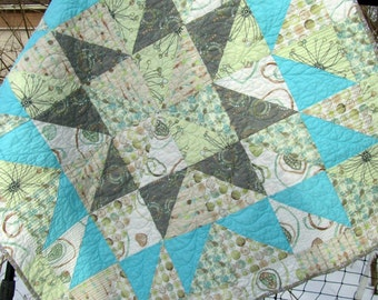 Modern Baby Girl Quilt Gray Grey Aqua