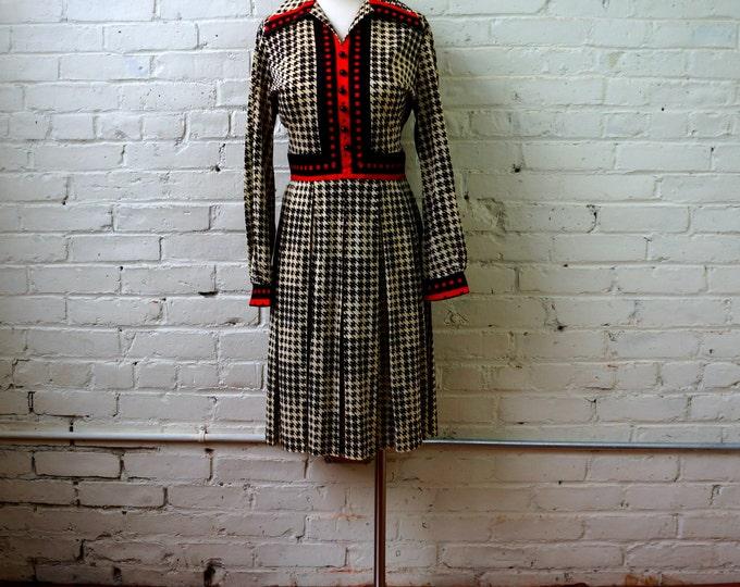 Houndstooth Shirtwaist Dress 1960s Dress MEDIUM Vintage Secretary Dress 60s Dress Brown Check Red Trim Long Sleeve Pleated Skirt Plaza South