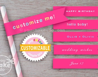 bright pink straw flags straws paper straws hot pink baby shower girl 1st birthday girl party printables pink birthday fuschia straw toppers
