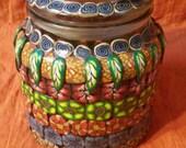 Large Repurposed Fantastical Flower Jar