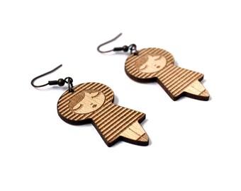 Striped dolls earrings - matriochka - kokeshi - stripes pattern - lasercut maple wood - wooden jewelry - minimalist - cute - contemporary