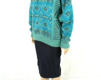 Vintage 80's Sweater Large Slouchy Sweater Oversized Sweater 80's Southwest Sweater Boyfriend Tribal Sweater Teal Green Blue Medium Large  D