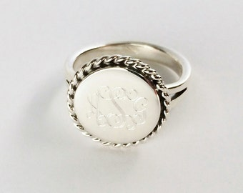Nautical Rope Monogrammed Ring in Sterling Silver for Women or Christmas Present Round