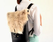 Leather backpack / Black and sheep fur leather backpack / Handmade leather bag / Black backpack