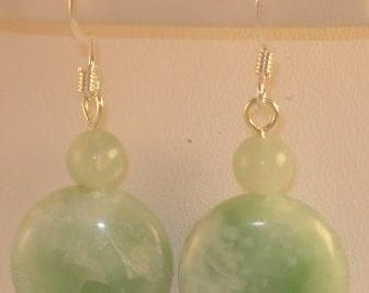 Jade Drop Dangle Earrings with silver plated posts