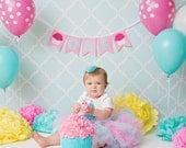 1st BIRTHDAY BANNER / 1st birthday girl / First birthday girl / ONE banner / Baby girl 1st birthday / Highchair banner / Cupcake banner / 1