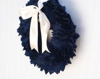 NAVY BLUE WREATH / Wedding wreath / Baby shower wreath / Baby boy wreath / Navy blue wedding decorations / Nautical baby shower / Patriotic