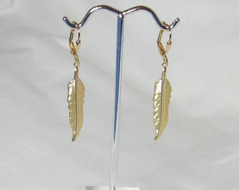 Gold or Silver Feather Earrings plated brass Leverback or Fishhook