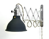 Industrial Scissor Articulating Wall Lamp Light With Gray Wire and Black Shade - Accordion lamp - Mid Century Machine Age Lamp Style