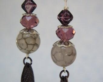Purple Leaf dangled earrings