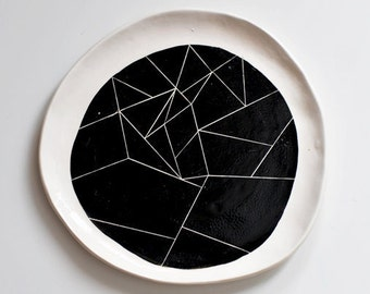 BW white ceramic plate with black geometry ornament abstract pattern contemporary minimalism style black and white