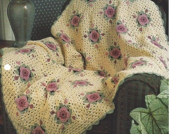 Pressed Flowers - Annie's Crochet Quilt & Afghan - Crochet Flower Floral Quilt Blanket Afghan, Bedspread, Home Decor, Bedding, Throw