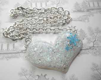 Sparkly Glitter Snow Heart with Snowflakes Pendant on Heavy Silver Chain