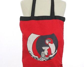 Graphic tote bag red Goddess Celestial Gothic Bohemian Color block Beach Deco clutch Hippie bag