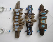 Live, Love, Breathe Driftwood Art with colorful beads and crystals